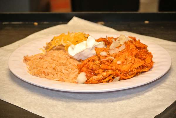 Chilaquiles, Rice & Beans