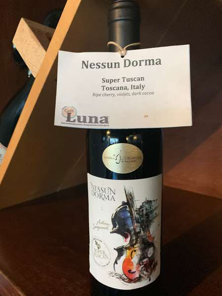 "Nessum Dorma, ""Super Tuscan"" Sangiovese/Merlot/Syrah"
