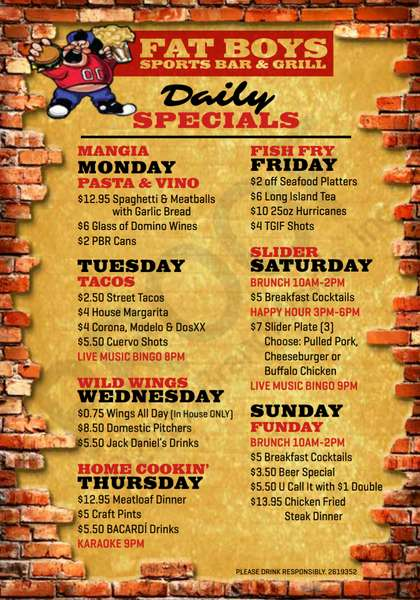 Fat Boy's Daily Specials