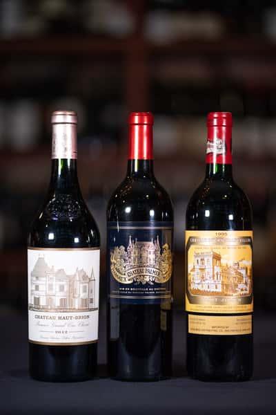 bord bottles of wine
