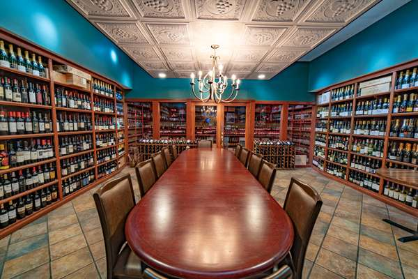 table in wine room