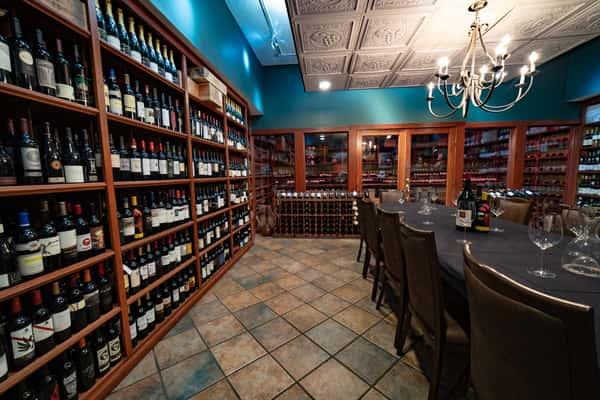 left wall wine bottles
