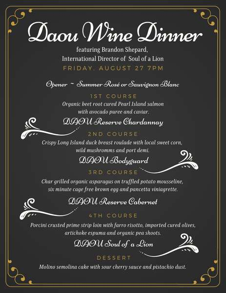 Menu for the Daou Wine Dinner