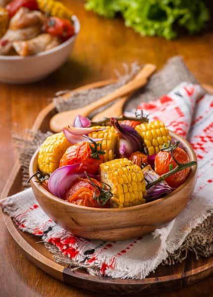 corn, potatoes, and tomatoes
