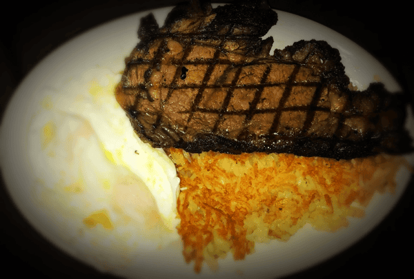 Delicious Piece of Prime Rib Grilled with 2 Egg