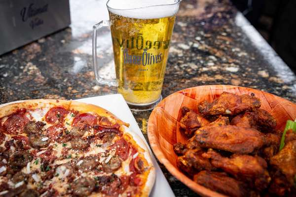 pizza, wings, and beer