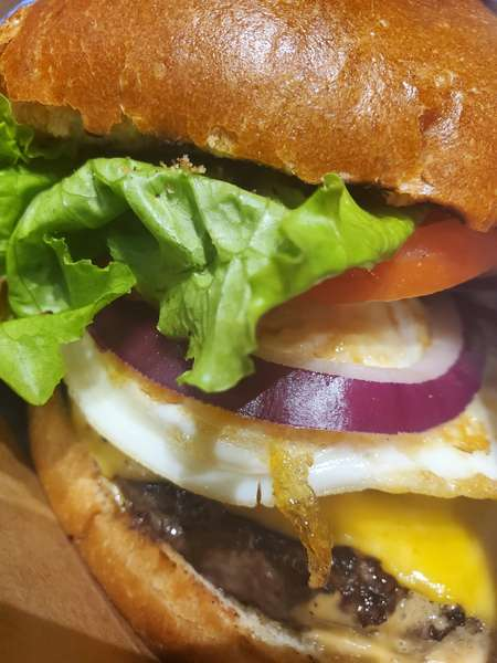 Morning burger with fried egg