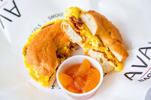 Gluten Free Egg Cheddar Bacon Omelette Sandwich