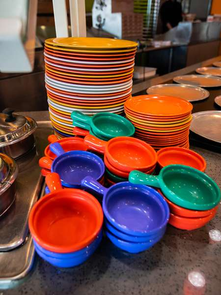 Brightly colored dishes