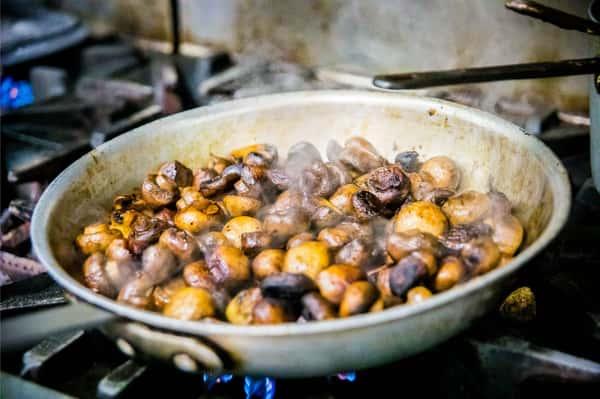 mushrooms in a pan