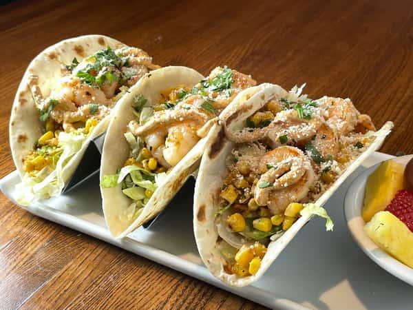 Elote Shrimp Tacos
