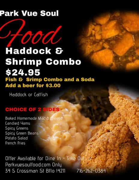Haddock and shrimp combo