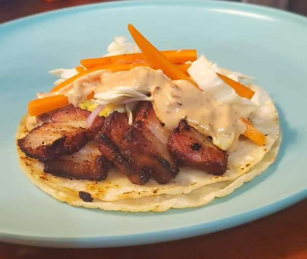 The Kingswood Applewood smoked pork belly taco