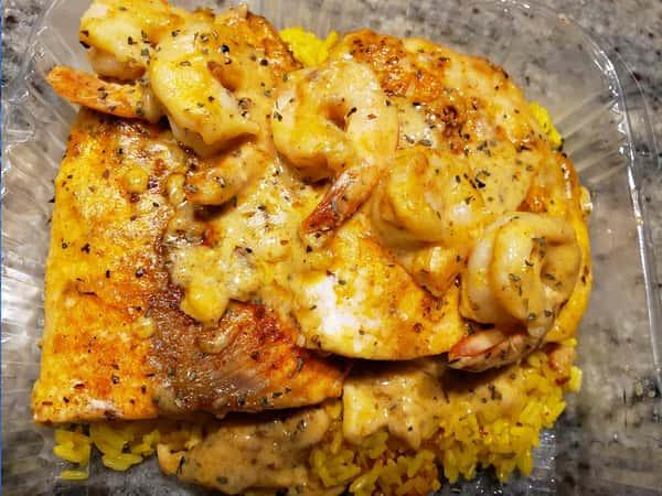 Cajun salmon with Shrimp