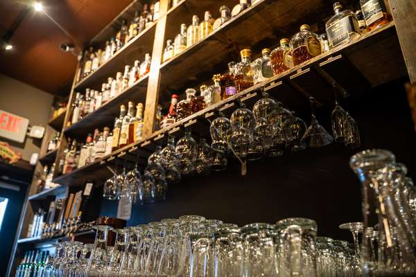 liquor and glasses