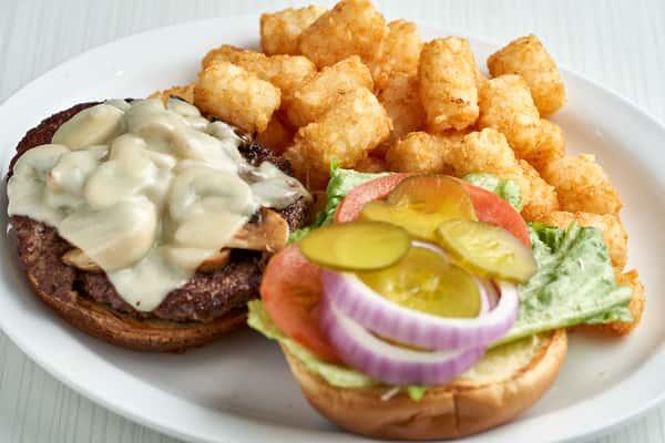 mushroom burger at the breakfast joynt