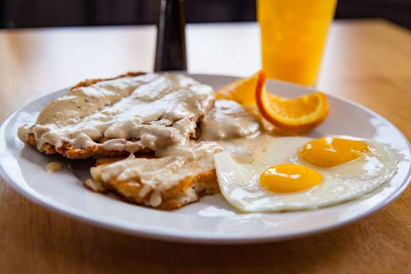 county fried steak and egg