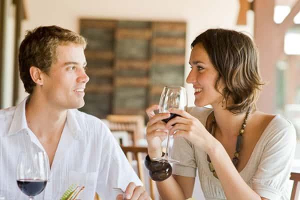 Couple enjoying glasses of wine