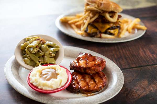 burger and sides