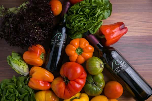 veggies and wine