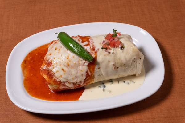 Smothered Burrito - Queso and Arbol