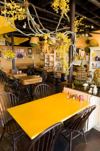 yellow table and interior