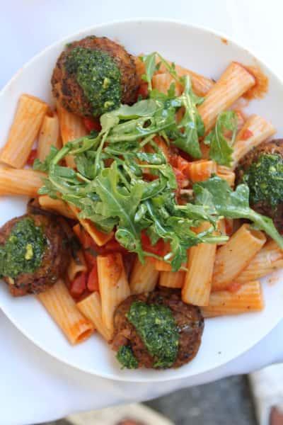 Vegan Meatballs & Pasta Pomodoro