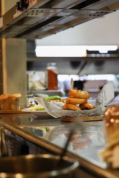 fried food in kitchen
