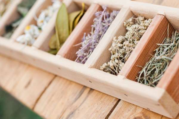 Herbs in a wooden tray