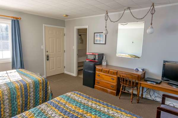 motel room with desk