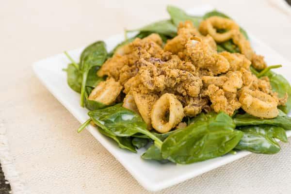 calamari spinach salad