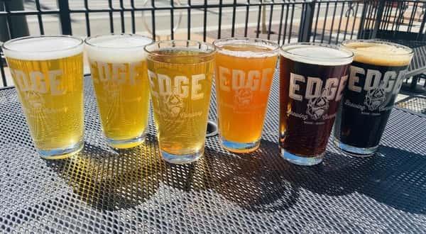 six glasses of Edge beer varieties