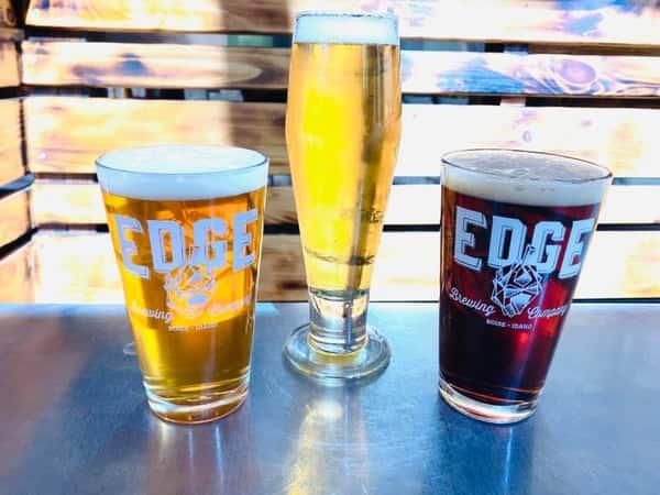 three glasses of Edge beer