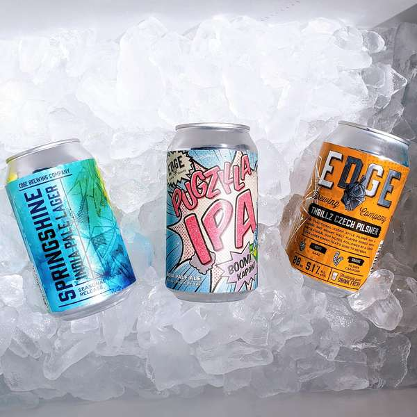 three cans of Edge beer on ice