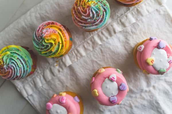 rainbow and valentine's day cupcakes