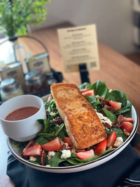 Salmon Strawberry Spinach Salad