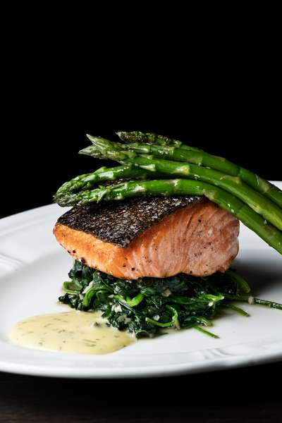 Crispy Monterey King Salmon - Asparagus, Butter Spinach, Dill Hollandaise