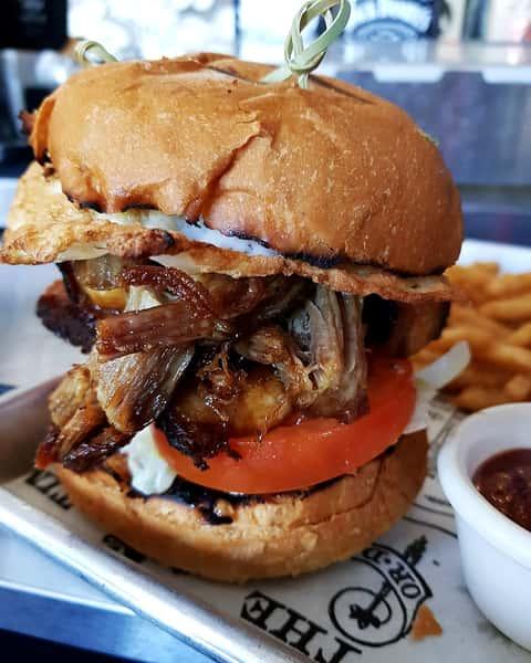 Pork Belly Burger + Fries + Beer