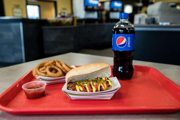 hot dog and Pepsi