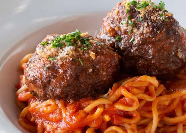 Spaghetti and Meatballs & Small House Salad