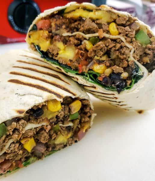 Vegetarian Caribbean Picadillo Wrap