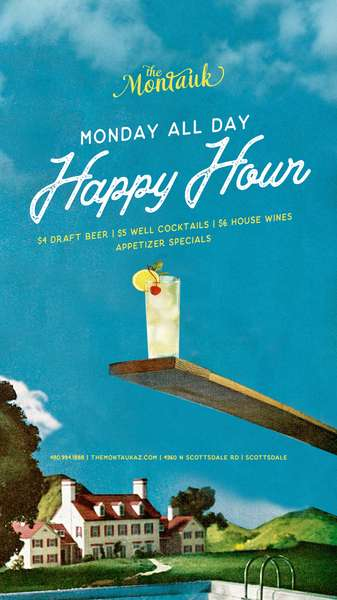 Monday All Day Happy Hour Brunch 10am-1pm Live Music 11am-1pm Happy Hour Specials: $4 Draft Beer $5 Well Cocktails $6 House Wines Appetizer Specials