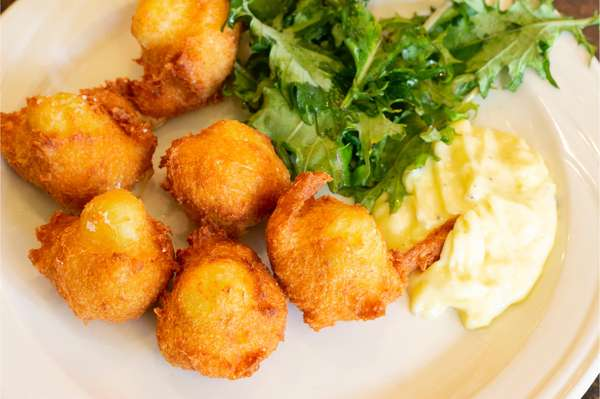 Deep Fried Salt Cod Fritters with Garlic Aioli and Mixed Greens
