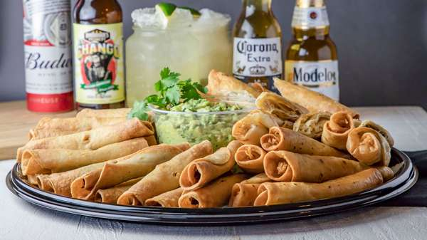 catering tray of taquitos