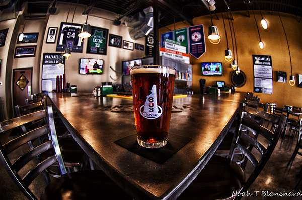 Beer sitting on the bar at Panzanellas Italian Pizzeria