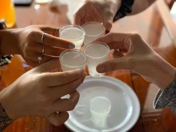 cheers with shots