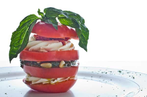 tomato with basil and pesto