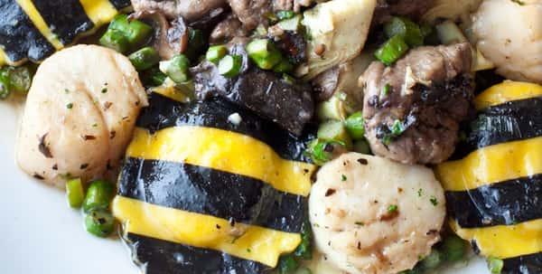 black and yellow ravioli