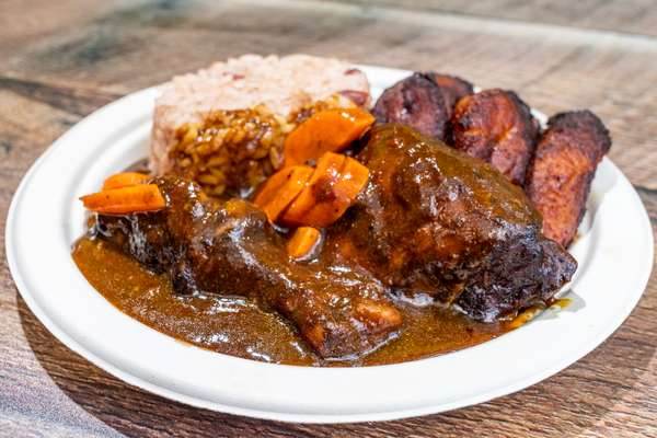 Brown Stew Chicken Plantains Rice and Beans
