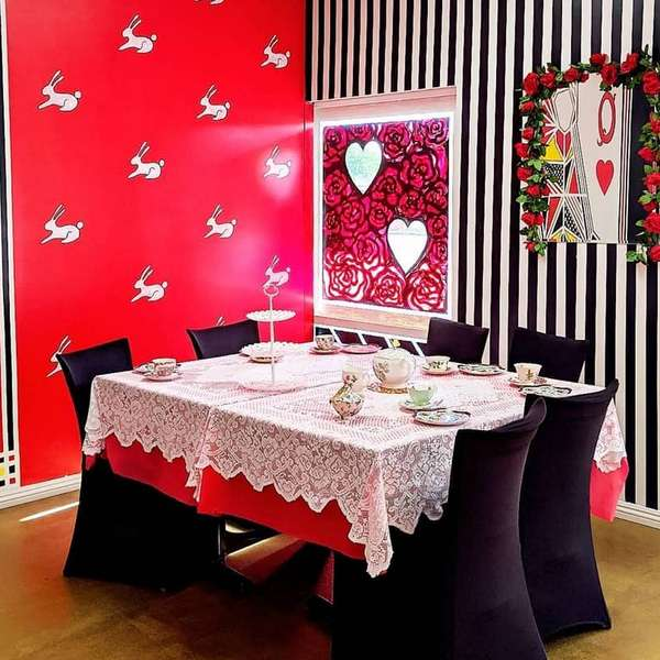 high tea set up at queen of hearts las vegas